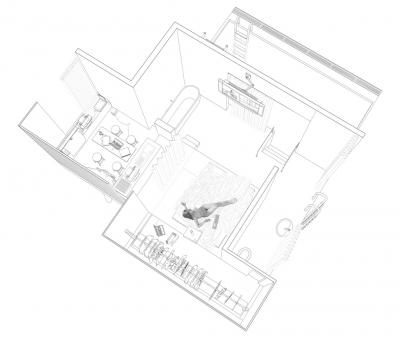 perspective plan view of the Zizek's house