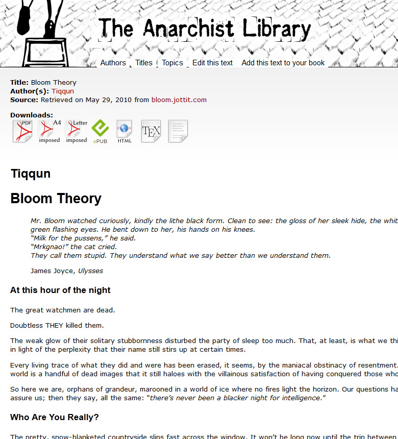 Bloom Theory (Tiqqun) | The Anarchist Library