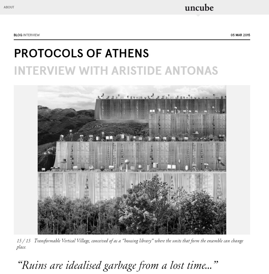 Uncube interview with Aristide Antonas - Protocols of Athens