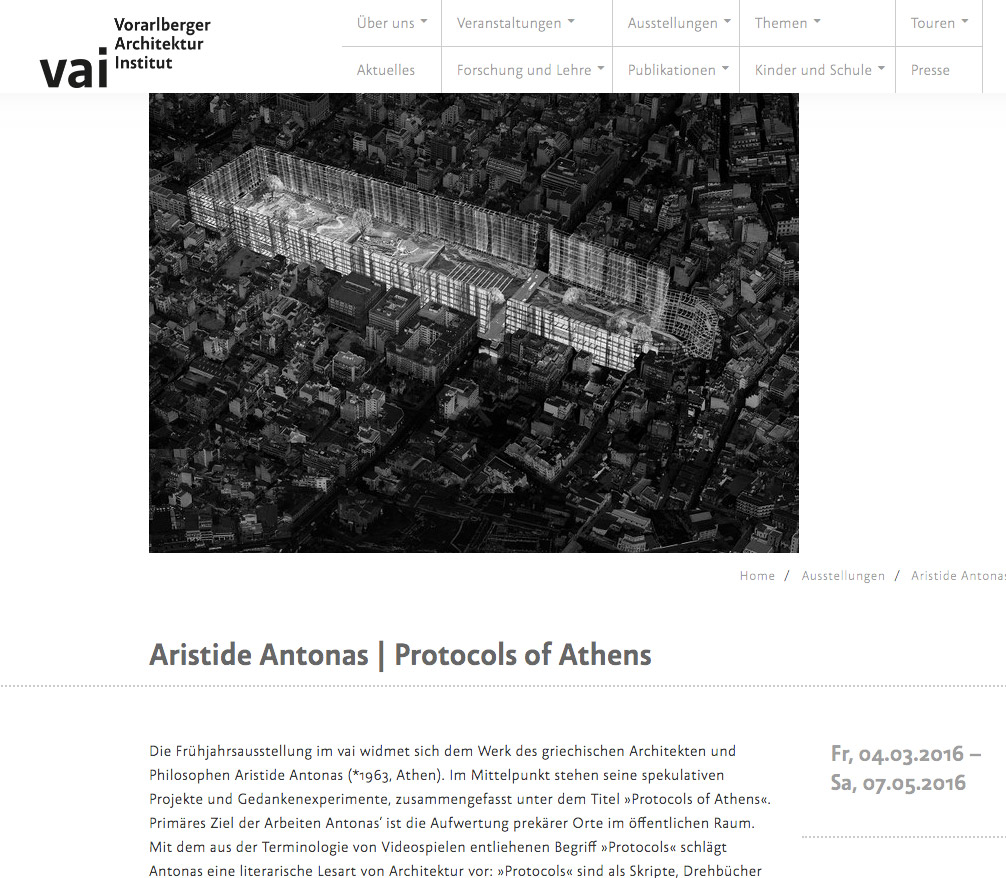 Vorarlberger Architektur Institut: Aristide Antonas | Protocols of Athens