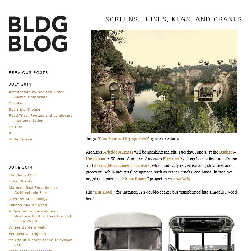 BLDGBLOG: Screens, Buses, Kegs, and Cranes